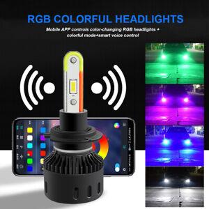 2*RGB H7 Headlight Bulbs 360W High Low Beam RGB LED Color Changing Headlight New