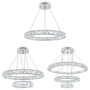 LED RING Crystal Round Chandelier Classic Elegant Ceiling Pendant Light Fixtures