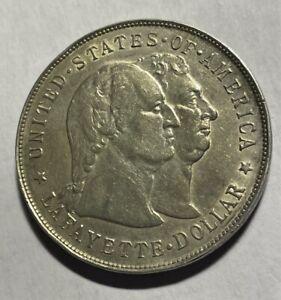 1900 $1  General Lafayette Commemorative Silver Dollar Full Boot AU/BU Unc.