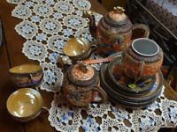 Vintage Hand Painted 20 pcs. Satsuma Moriage Dragon w/Geisha Porcelain Tea Set