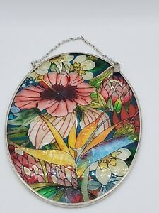 Amia Handcrafted stained glass Oval multi color Flower floral  window suncatcher