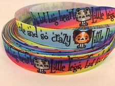 "By The Yard 5/8"" Colorful Dog And Cat Grosgrain Ribbon Dog Collars Lisa"