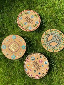 Mental Health Awareness Positive Quote Coasters - Cork / Rainbow 4PCS - MIND