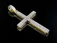 "10K Yellow Gold Pave Genuine Diamond Cross Charm Pendant 1.3"" (.22 Ct)"