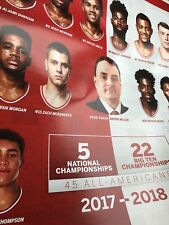IU Indiana University Men's Basketball Hoosier Calendar Poster 2017-2018 Season