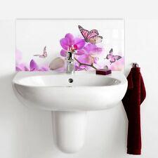 60cm x 30cm Print Glass Tile Bathroom Splashback - Purple Orchid with Butterfly