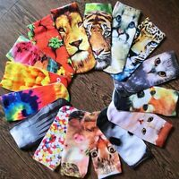Men Women Casual Ankle Socks 3D Printed Animal Low Cut Cotton