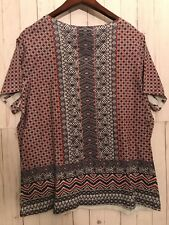Catherines Blouse Size 0X Plus Rhimestones 100% Polyester Short Sleeves Flowy