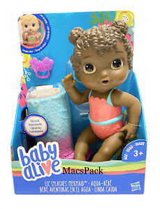 RARE Baby Alive Lil' Splashes Mermaid Doll Dark Skin Tail Changes Color & Floats