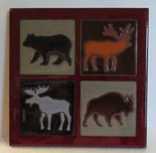 Masterworks Handcrafted 6x6 Art Tile Trivet Moose Bear Buffalo