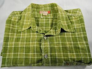 Guess Men's Short Sleeve Green Plaid Shirt Size XLT