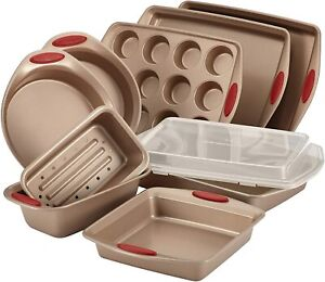 NEW Rachael Ray Cucina Nonstick Bakeware 10-piece Set with Baking Pans Sheets...