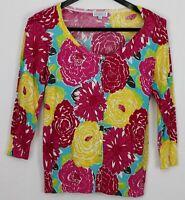 JOSEPH A. Medium Women's Sweater 3/4 Sleeve Button-Up Cardigan Multicolor Floral