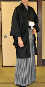 Japanese Men's Traditional Kimono HAORI Montsuki Hakama 3pcs Set Black