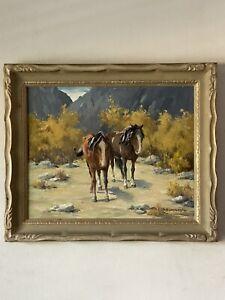 HUMPHREY ANTIQUE HORSE LANDSCAPE OIL PAINTING 1930s CALIFORNIA WESTERN PLEIN AIR