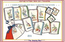 211 Garden Fruit & Veggies Embroidery patterns Iron-On
