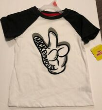 Boys Peace Sign Shirt Mickey Mouse New Black and White
