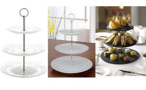 3 Tier Glass Ceramic Slate White Round Display Cake Stand Food Platter Rack Gift