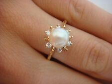 14K YELLOW GOLD 6.5 MM PEARL AND HALO DIAMONDS LADIES RING 2.5 GRAMS SIZE 7