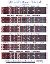 LEFT HANDED OPEN G SLIDE RULE CHART 6 STRING STEEL GUITAR - LAP PEDAL - LEFTY