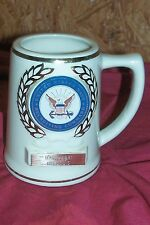 US Navy Recruiting Command Beer Coffee Mug Stein USN Sailors Old Vintage Glass