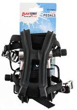 "Flat Platform Alloy Bike Pedals 9/16"" With Med Toe Clips + Straps Black NEW"
