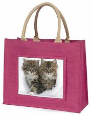 Kittens in White Fur Hat Large Pink Shopping Bag Christmas Present Id, AC-189BLP