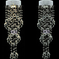 D7.9''*H24.4'' Double Spiral Crystal Ceiling Lamp Living Room Staircase Lighting