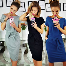 AU Women's Summer Short Sleeve Mini Dress Bandage Tunic Bodycon Shirt OL Dresses