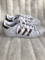 Adidas Superstars Size UK 4 Trainers Runners White Graphic Abstract Stripe Rare