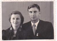1950s Beautiful couple handsome man prety woman fashion old Russian Soviet photo