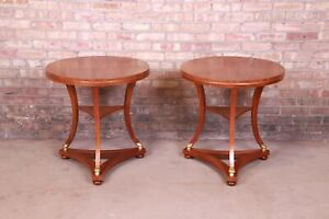 Baker Furniture French Empire Mahogany Side Tables