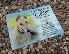 Personalised memorial gravestone headstone marker, ceramic tile, Greyhound dog
