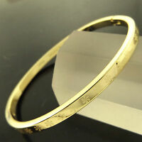 BANGLE CUFF BRACELET GENUINE REAL 18K YELLOW G/F GOLD SOLID LADIES HINGED DESIGN