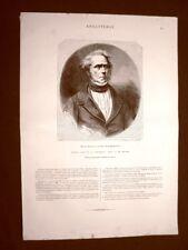 Henry John Temple Visconte Palmerston Primo Ministro in U.K. Incisione del 1865
