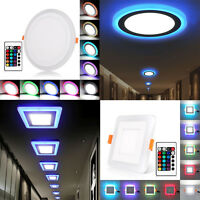 3 Mode Dual Color LED Recessed Ceiling Panel Down Light Lamp Ultra Thin 110-220V