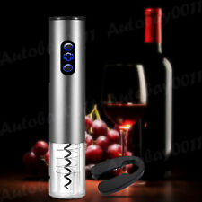 Automatic Wine Bottle Opener Cordless Electric Corkscrew Tool Foil Cutter Silver