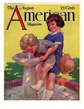 """1927 The American Magazine August Cover Only """"Girls At Water Fountain"""" Print Ad"""