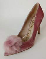Sam Edelman Faded Rose Velvet Pom Pom Fur Pumps Shoes NEW 8.5 Haroldson Pink