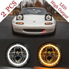 "NA MIATA Headlights (Pair) Mazda MX-5 MX5 LED 7"" Plug N' Play CHROME Halo NEW"