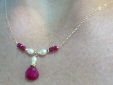 Genuine Ruby 4ctw and white pearl solid 14k gold necklace pendant