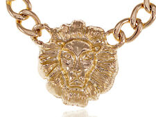 Chunky Lion Head Bling Bling Chain Link Urban Fashion Statement Necklace