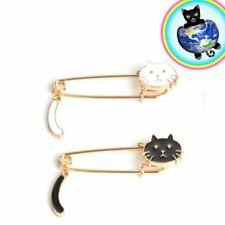 Cat Enamel Pins Black and White
