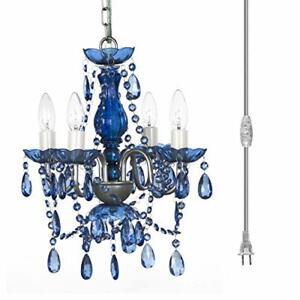 "Plug-in 4 Light Cobalt Blue Hanging Swag Chandelier H17.5""xW15"" Silver Metal ..."