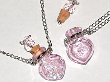 1pc Murano Glass Pink perfume Heart bottle cork pendant vial locket Necklace *