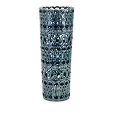 "Ceramic Hadwin Vase Teal Blue Lace Cut-out Home Decor 19.5"" H NEW I14588"