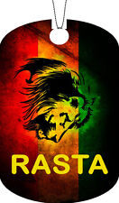Rasta Flag Adult Dog Tag Chain Necklace LION Version