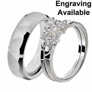 His & Hers White Stainless Steel Round CZ Wedding Sets Tungsten Men Band HA