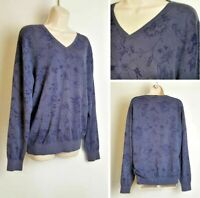 Massimo Dutti Ladies Blue Floral V Neck Light Weight Cotton Jumper Large 14-16