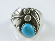 Vintage Navajo Mens Sterling Silver Turquoise Ring Size 10 1/4
